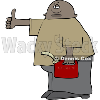 Clipart of a Black Man Holding a Gas Can and Hitchhiking - Royalty Free Vector Illustration © djart #1533005