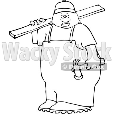 Clipart of a Lineart Black Male Carpenter Carrying a Wood Board - Royalty Free Vector Illustration © djart #1533543