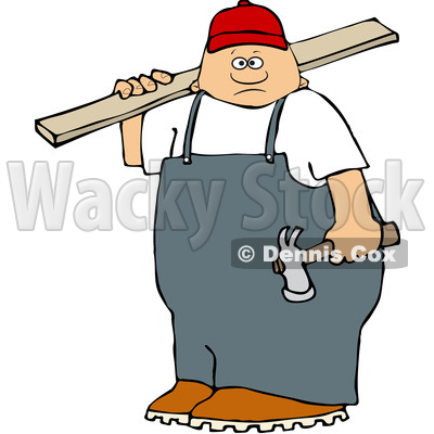 Clipart of a White Male Carpenter Carrying a Wood Board - Royalty Free Vector Illustration © djart #1533544