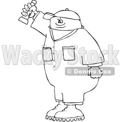 Clipart of a Cartoon Lineart Black Male Worker Shining a Flashlight - Royalty Free Vector Illustration © djart #1534861