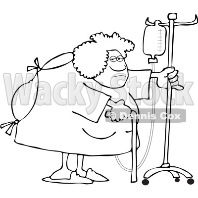 Clipart of a Cartoon Lineart Hospitalized Woman Walking Around with an Intravenous Drip Line - Royalty Free Vector Illustration © djart #1535504