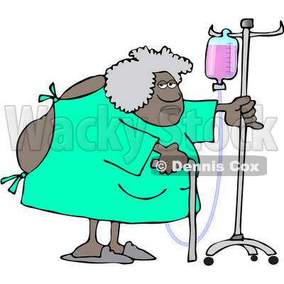 Clipart of a Cartoon Hospitalized Woman Walking Around with an Intravenous Drip Line - Royalty Free Vector Illustration © djart #1535505