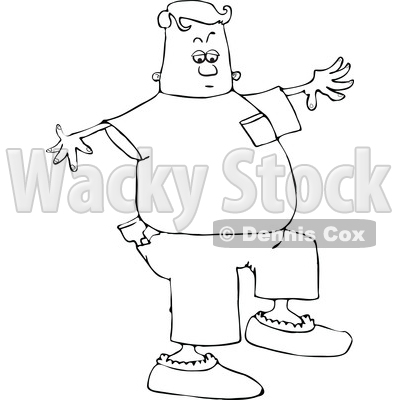 Clipart of a Lineart Man Walking in Booties - Royalty Free Vector Illustration © djart #1540335