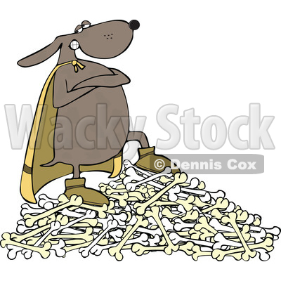 Clipart of a Super Hero Dog Standing on a Pile of Bones - Royalty Free Vector Illustration © djart #1540337