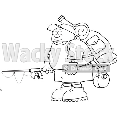 Clipart of a Cartoon Lineart Man with Camping and Fishing Gear - Royalty Free Vector Illustration © djart #1551010