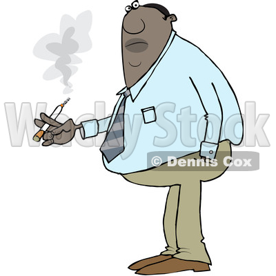 Clipart of a Cartoon Chubby Black Business Man Smoking a Cigarette - Royalty Free Vector Illustration © djart #1551667