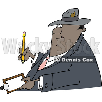 Clipart of a Cartoon Black Business Man Writing on a Clip Board - Royalty Free Vector Illustration © djart #1552116