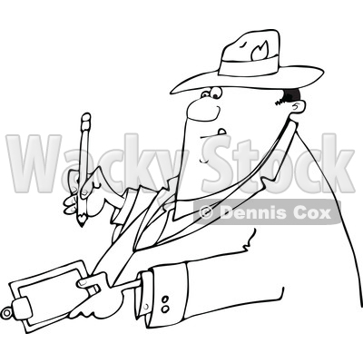 Clipart of a Cartoon Lineart Business Man Writing on a Clip Board - Royalty Free Vector Illustration © djart #1552117