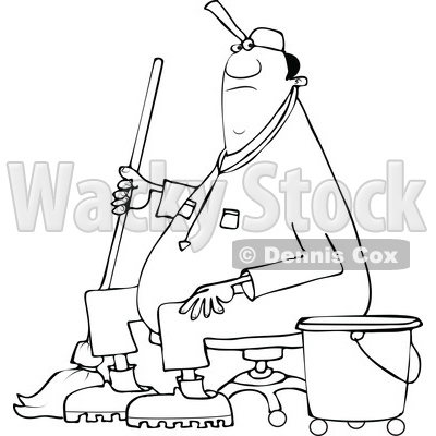 Clipart of a Cartoon Lineart Black Male Custodian Janitor Taking a Break and Sitting in a Chair with a Mop and Bucket - Royalty Free Vector Illustration © djart #1552200