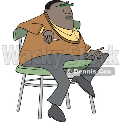 Clipart of a Cartoon Casual Chubby Black Man Smoking and Sitting on a Stool - Royalty Free Vector Illustration © djart #1552559