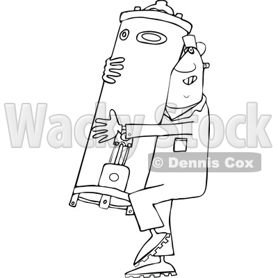 Clipart of a Cartoon Lineart Black Plumber Worker Man Carrying a Water Heater - Royalty Free Vector Illustration © djart #1558730