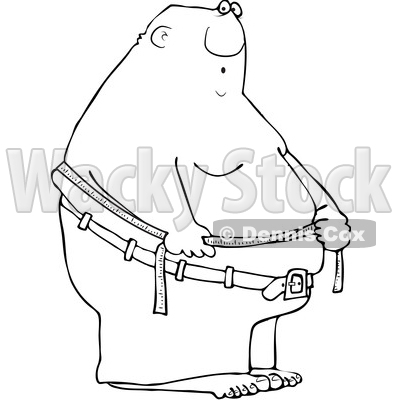 Clipart of a Cartoon Lineart Black Man Measuring His Belly Fat - Royalty Free Vector Illustration © djart #1559970