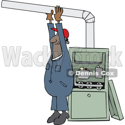 Clipart of a Cartoon Black Male Furnace Installer Adjusting a Pipe - Royalty Free Vector Illustration © djart #1560322
