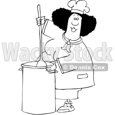 Clipart of a Cartoon Lineart Black Culinary Chef Woman Mixing a Pot of Food in a Kitchen - Royalty Free Vector Illustration © djart #1560409