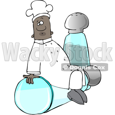 Clipart of a Black Male Chef Sitting on Top of a Tipped Salt Shaker in Front of a Pepper Shaker - Royalty Free Vector Illustration © djart #1560730