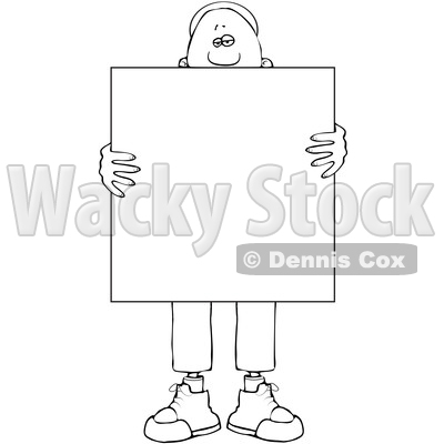 Clipart of a Lineart Black Man Holding a Blank Sign in Front of His Body - Royalty Free Vector Illustration © djart #1562289