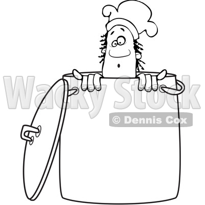 Clipart of a Lineart Black Male Chef Peeking out from Inside a Stock Pot - Royalty Free Vector Illustration © djart #1562291