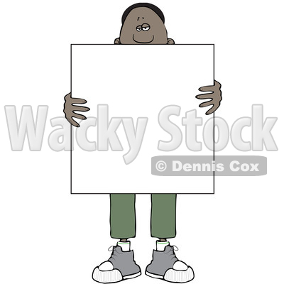 Clipart of a Black Man Holding a Blank Sign in Front of His Body - Royalty Free Vector Illustration © djart #1562292
