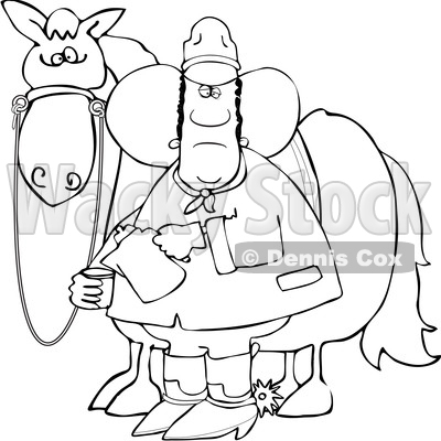 Clipart of a Lineart Black Cowboy Pouring a Cup of Coffee by a Horse - Royalty Free Vector Illustration © djart #1562917