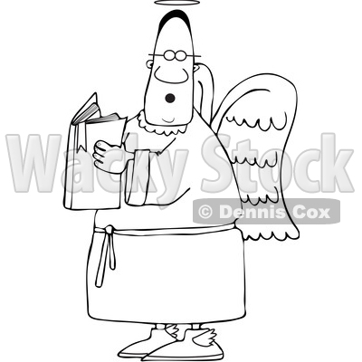 Clipart of a Lineart Black Male Angel Holding a Book - Royalty Free Vector Illustration © djart #1567301