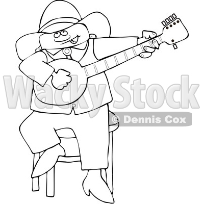 Clipart of a Cartoon Lineart Black Cowboy Playing a Banjo - Royalty Free Vector Illustration © djart #1567568