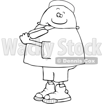 Clipart of a Cartoon Lineart Black Boy Eating a Popsicle - Royalty Free Vector Illustration © djart #1568343