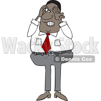 Clipart of a Cartoon Aggravated Black Business Man Squeezing His Face - Royalty Free Vector Illustration © djart #1568345