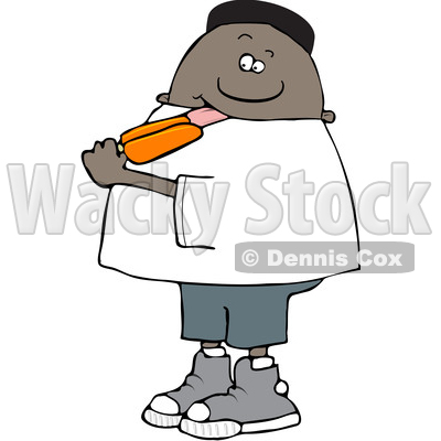 Clipart of a Cartoon Black Boy Eating an Orange Popsicle - Royalty Free Vector Illustration © djart #1568346