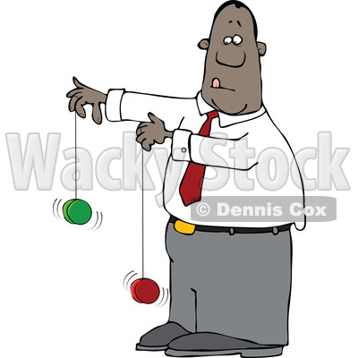 Clipart of a Cartoon Black Business Man Playing with Yoyos - Royalty Free Vector Illustration © djart #1568350