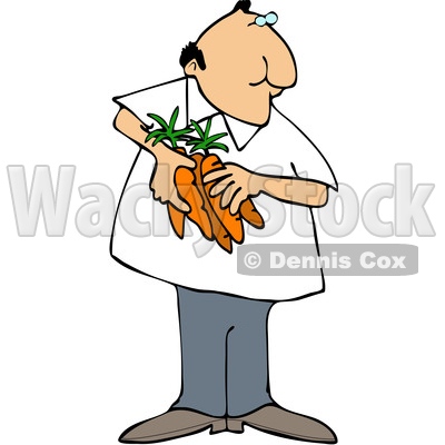 Clipart of a Cartoon Man Holding Carrots - Royalty Free Vector Illustration © djart #1568636