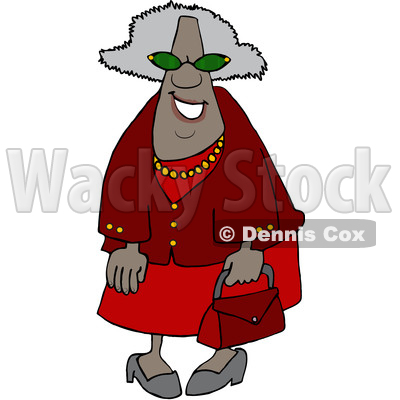 Clipart of a Cartoon Happy Black Granny Wearing Sunglasses and Carrying a Purse - Royalty Free Vector Illustration © djart #1580749