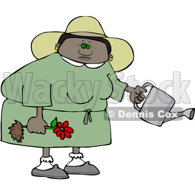 Clipart of a Cartoon Black Woman Holding a Flower Ready to Be Planted and a Watering Can - Royalty Free Vector Illustration © djart #1580751