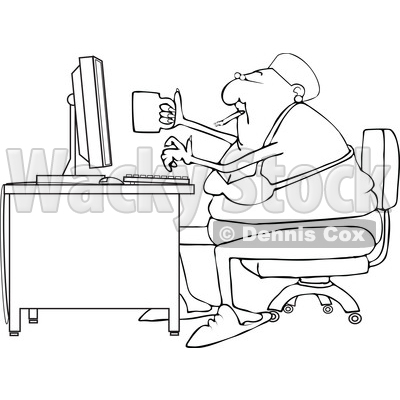 Clipart of a Cartoon Lineart Black Woman Smoking, Holding a Coffee Cup and Working at a Desk in Her Underwear - Royalty Free Vector Illustration © djart #1583908