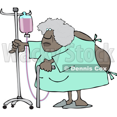 Clipart of a Cartoon Hospitalized Black Woman Walking Around with an Intravenous Drip Line - Royalty Free Vector Illustration © djart #1583965
