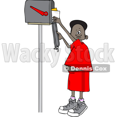 Clipart of a Black Boy Checking Mail from a Tall Mailbox - Royalty Free Vector Illustration © djart #1587347