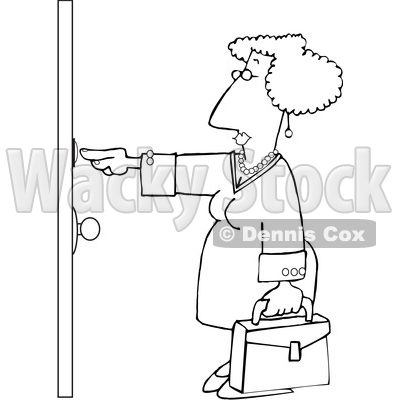 Clipart of a Cartoon Lineart Sales Woman Ringing a Door Bell - Royalty Free Vector Illustration © djart #1595651