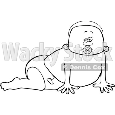 Clipart of a Cartoon Lineart Black Baby Boy Crawling - Royalty Free Vector Illustration © djart #1601265