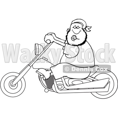 Clipart of a Cartoon Lineart Black Male Biker Riding a Motorcycle - Royalty Free Vector Illustration © djart #1601524