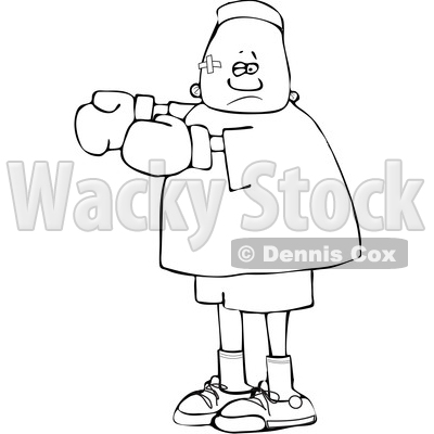 Clipart of a Cartoon Lineart Beat up Black Boy Boxer - Royalty Free Vector Illustration © djart #1601526