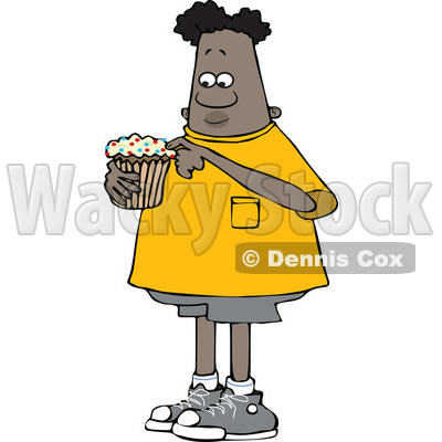 Clipart of a Cartoon Black Boy Eating a Cupcake - Royalty Free Vector Illustration © djart #1601905