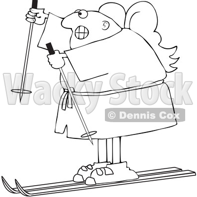 Clipart of a Cartoon Lineart Black Male Angel Skiing - Royalty Free Vector Illustration © djart #1603542