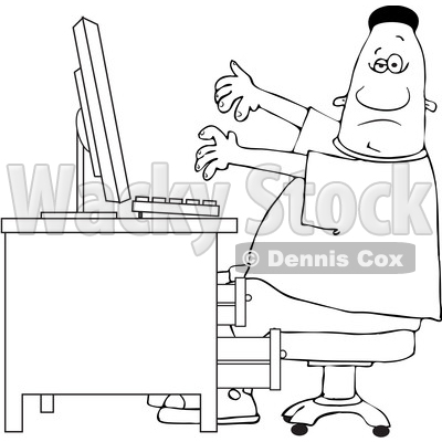 Clipart of a Cartoon Lineart Black Man Working at a Computer Desk - Royalty Free Vector Illustration © djart #1603880