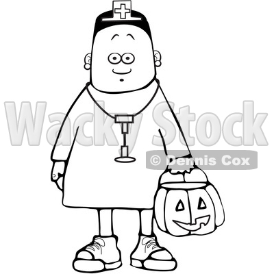 Clipart of a Cartoon Lineart Black Girl Wearing Halloween Nurse Costume While Trick or Treating - Royalty Free Vector Illustration © djart #1603881
