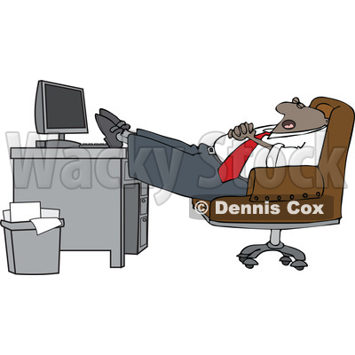 Clipart of a Cartoon Black Businessman Sleeping with His Feet on His Desk - Royalty Free Vector Illustration © djart #1604533
