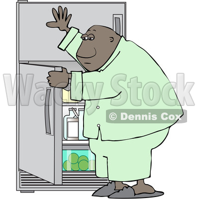 Clipart of a Cartoon Black Man Looking for Something to Eat in the Fridge - Royalty Free Vector Illustration © djart #1605393