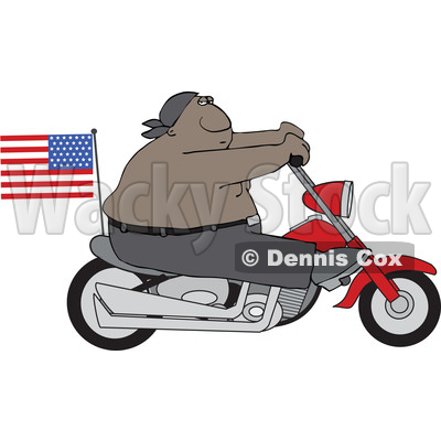Clipart of a Cartoon Shirtless Patriotic Black Male Biker with an American Flag - Royalty Free Vector Illustration © djart #1605489