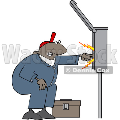 Clipart of a Cartoon Black Male Electrician Touching a Power Box - Royalty Free Vector Illustration © djart #1606079