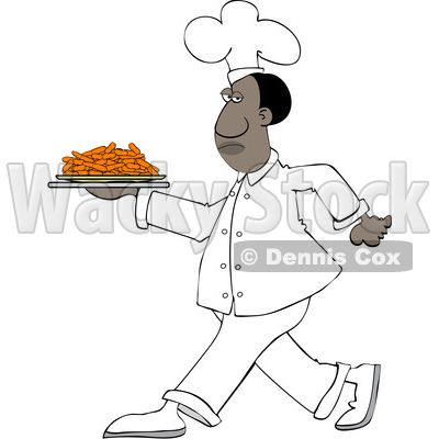Clipart of a Cartoon Black Male Chef Walking with a Plate of Carrots - Royalty Free Vector Illustration © djart #1606081