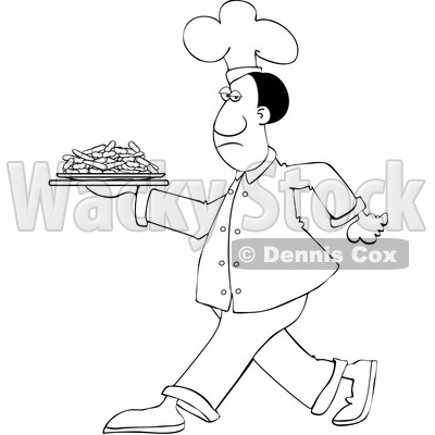 Clipart of a Cartoon Lineart Black Male Chef Walking with a Plate of Carrots - Royalty Free Vector Illustration © djart #1606082