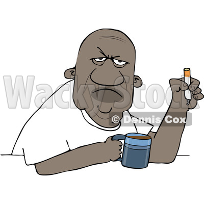 Clipart of a Grumpy Old Black Man Smoking a Cigarette over Coffee - Royalty Free Vector Illustration © djart #1606276